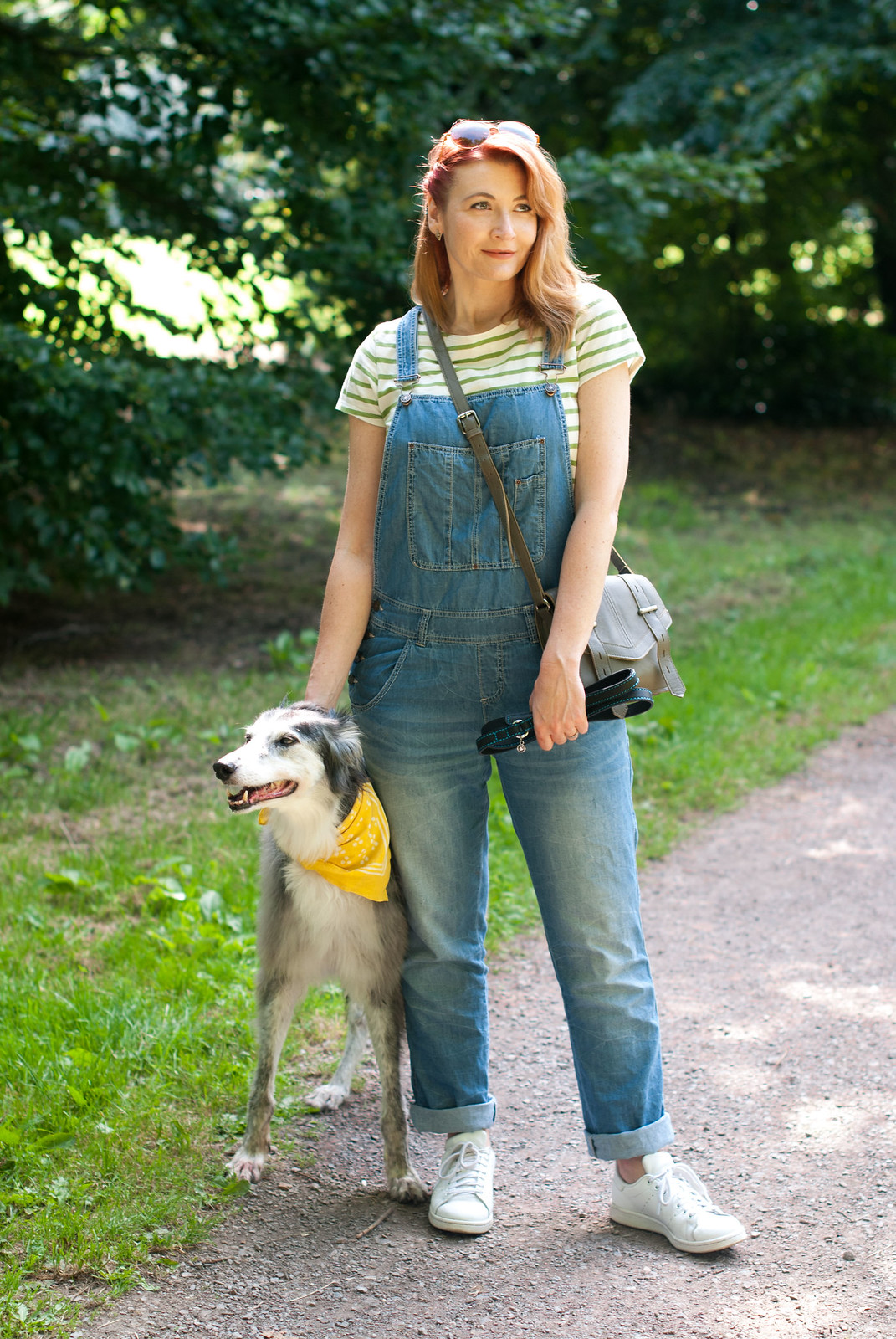 Ways to style a Breton stripe top: Casual weekend wear - with dungarees (overalls) and white Stan Smiths   Not Dressed As Lamb, over 40 style