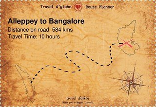 Map from Alleppey to Bangalore
