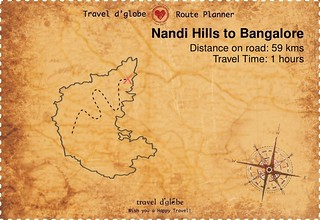 Map from Nandi Hills to Bangalore
