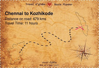 Map from Chennai to Kozhikode