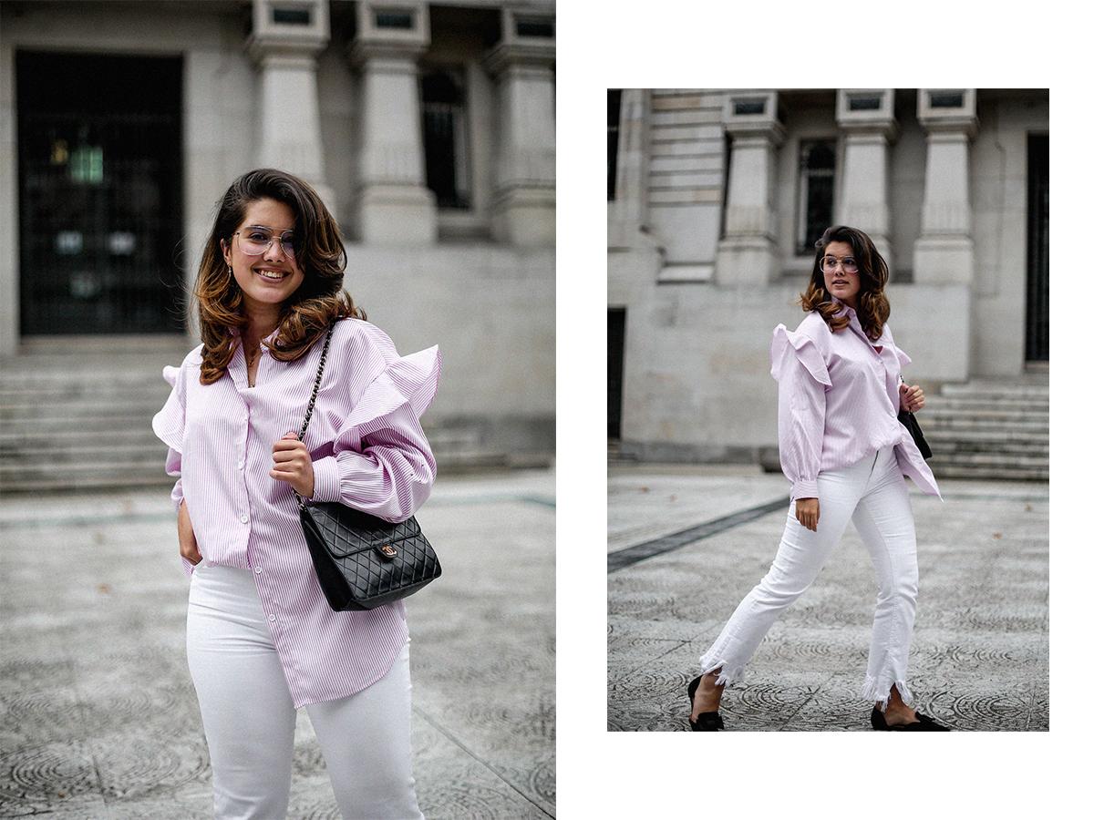 camisa rayas rosa dias como estos bailarinas lazo negras hm myblueberrynightsblog11