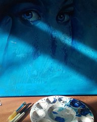 #yesterday #wip white n blue in the shadows, something new #painting #portrait #acrylics #blue #shadows #eyes