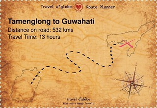 Map from Tamenglong to Guwahati