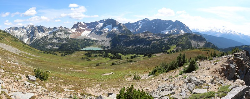 Panorama shot of the Lyman Lakes basin as we descend from Cloudy Peak toward Cloudy Pass