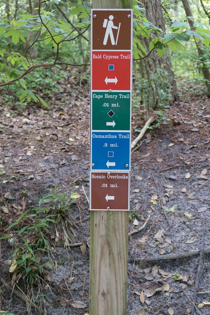 Trail signs at First Landing State Park