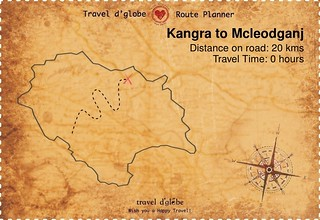 Map from Kangra to Mcleodganj