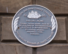 Photo of Sailors Home, North Shields and Benjamin Green blue plaque