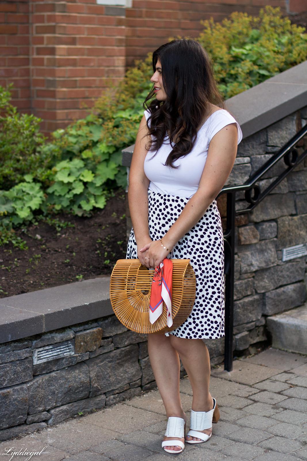 dalmatian print skirt, white bodysuit, bamboo bag-1.jpg