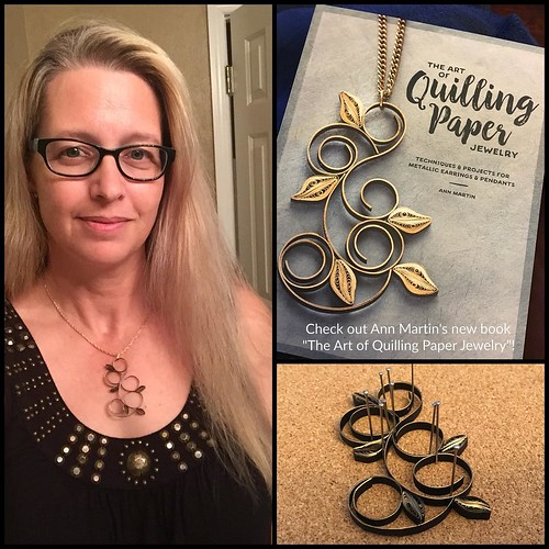 #paperjewelry Loops and Leaves Quilled Pendant,  a project in the book, The Art of Quilling Paper Jewelry - made by Jennifer Stacey