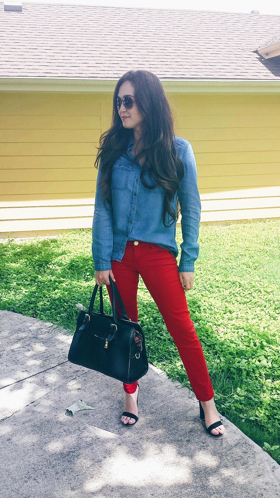 just fab clothing fashion red denim bottoms