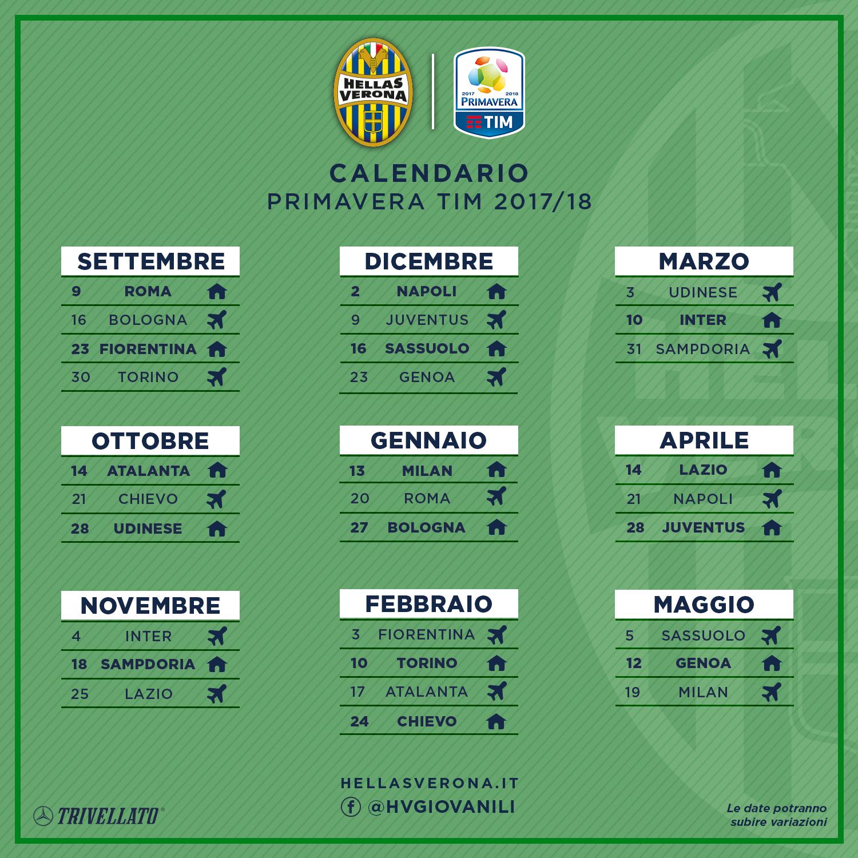 Calendario Verona.Primavera Hellas Verona Il Calendario Del Campionato 2017