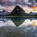 Sunset at Swiftcurrent lake by KJRphotoz
