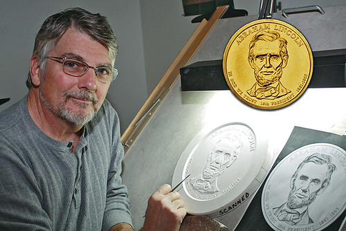 Don Everhart with Lincoln Presidential dollar