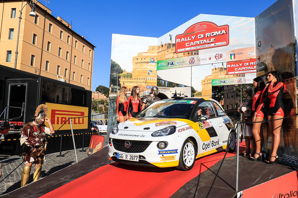 29 HUTTUNEN Jari (FIN) LINNAKETO Antti (FIN) Opel Adam R2 start during the 2017 European Rally Championship ERC Rally di Roma Capitale,  from september 15 to 17 , at Fiuggi, Italia - Photo Jorge Cunha / DPPI