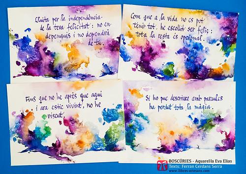 Boscúries; aquarel·les de l'aquarel·lista Eva Elias, amb aforismes originals de Ferran Cerdans Serra.