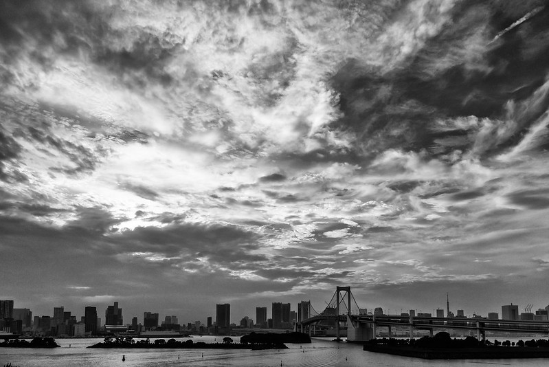 Black and white photo of Rainbow Bridge