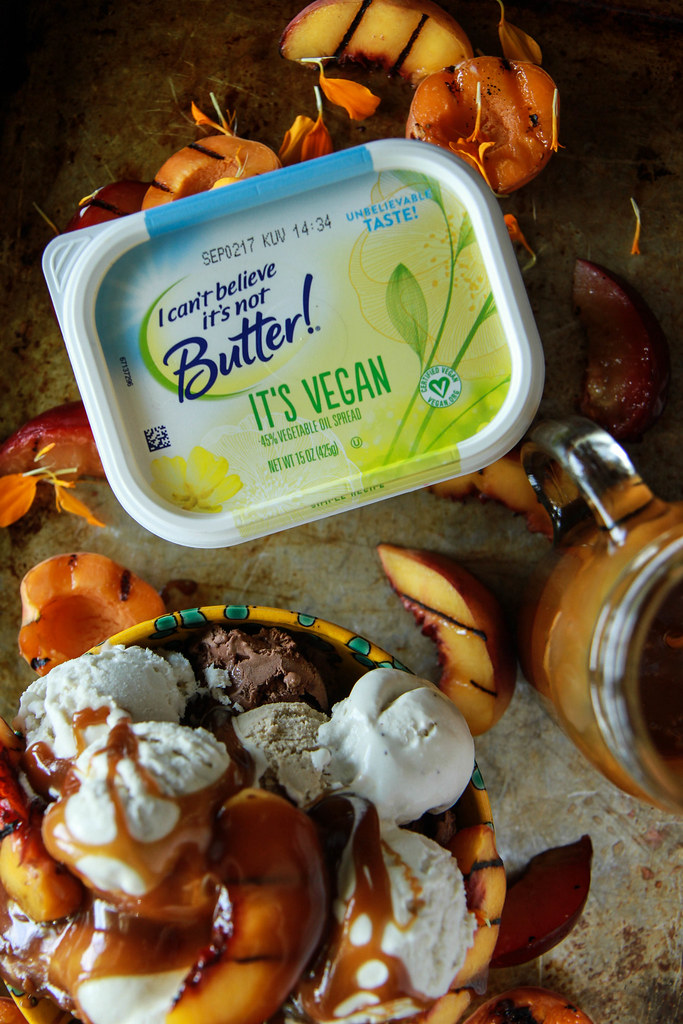 Vegan Grilled Stone Fruit Sundae with Vegan Salted Caramel Sauce from HeatherChristo.com