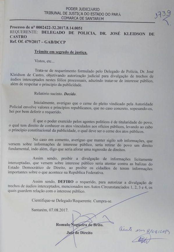 Justiça retira sigilo de trechos de conversas telefônicas da operação Perfuga, Segredo desnundado