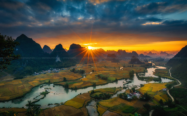 Magical sunset on the area near mountain Ngoc Con, Cao Bang province, Vietnam