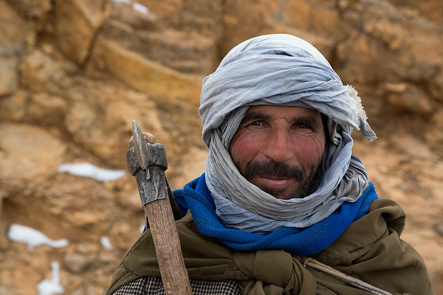Portrait of a shepherd in the Atlas mountains of Morocco.