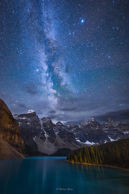 Moraine Lake Under the Night Sky