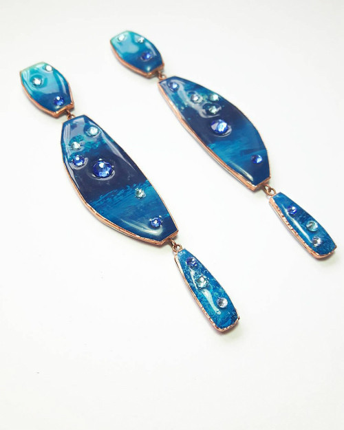 Sealife Statement Paper and Resin Earrings by Dee Barnes Designs