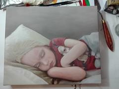 Painting in progress, child portrait Sep 2017