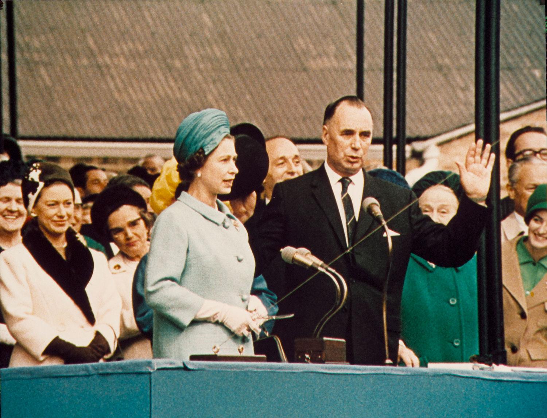 HM Queen Elizabeth II preparing to launch RMS Queen Elizabeth 2 at Clydebank, September 20, 1967