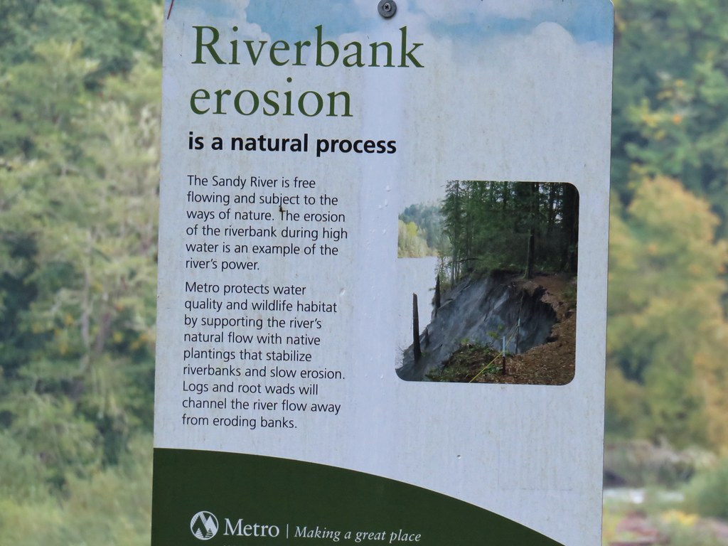 One of many signs along the river bank