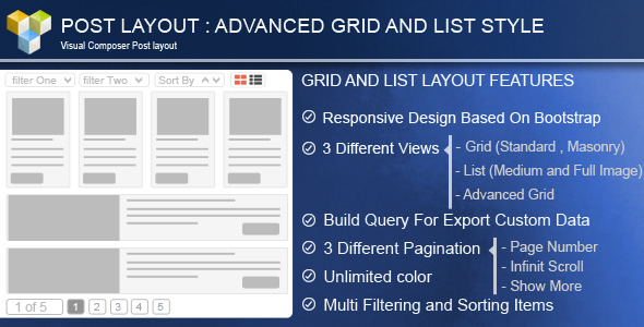 Advance Post Grid List with custom filtering for Visual Composer