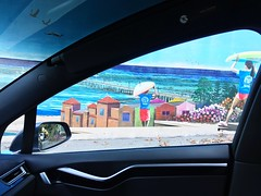 California mural // Car Vehicle Interior Transportation Land Vehicle Mode Of Transport Car Interior Window Day Steering Wheel Windshield Sunlight No People Water Sky Sea Indoors  Tree Nature Close-up City