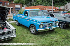 1966 Ford Custom Cab F100 Pickup Truck in Blue 3/4 View