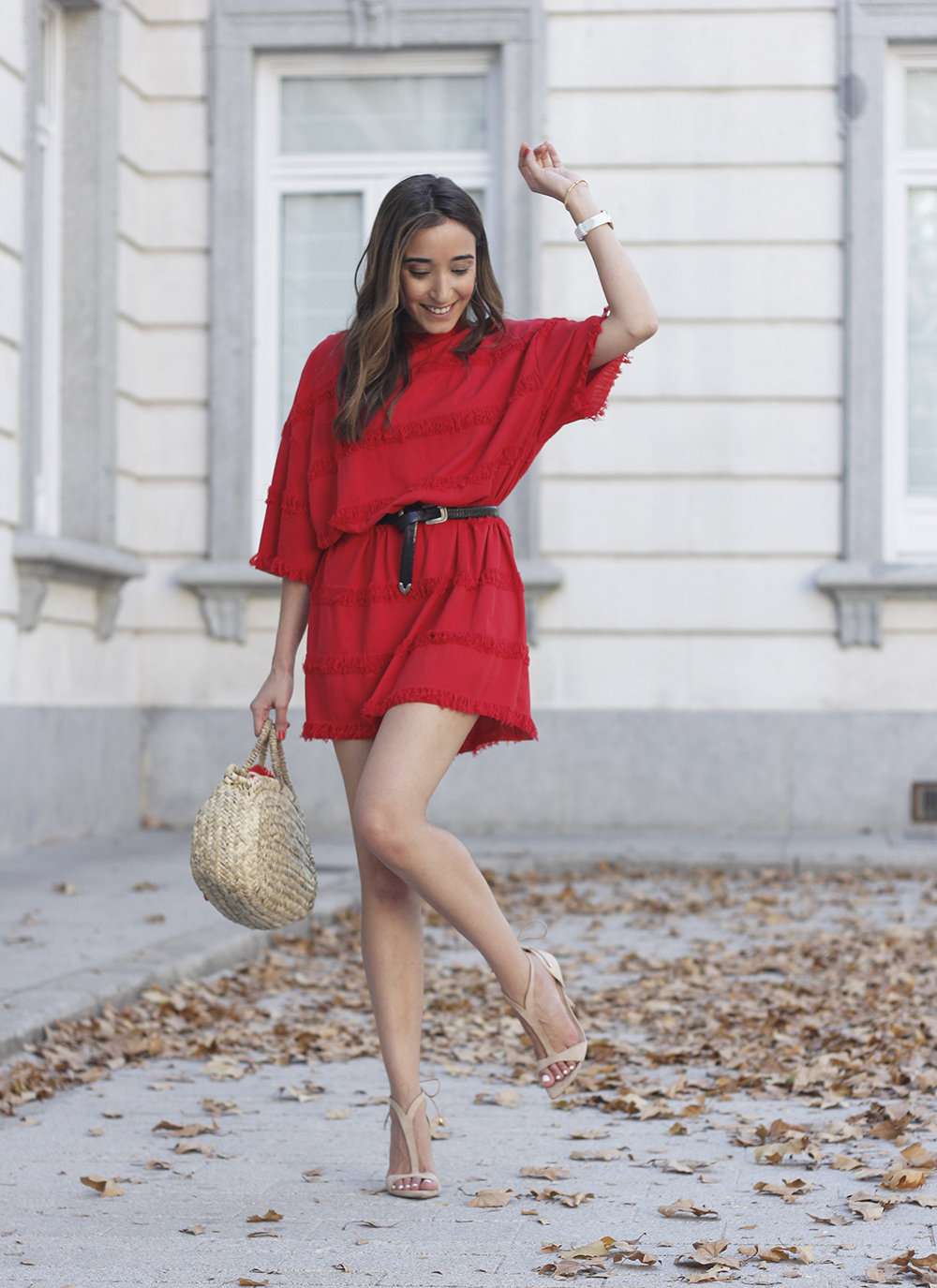 red dress nude heels summer outfit accessories capazo10