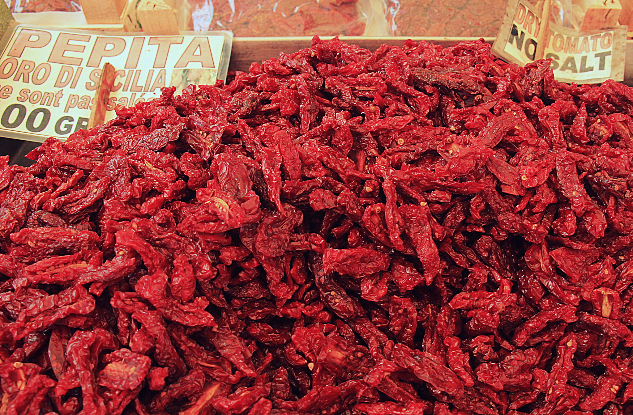 Sun dried tomatoes for sale at the Erberia
