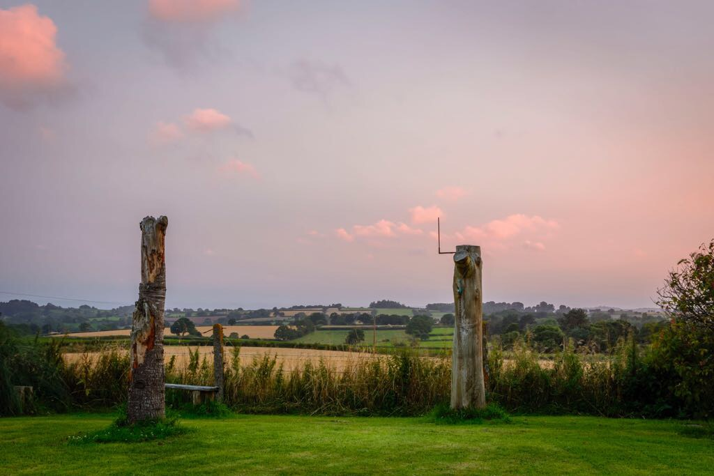 View of Devon countryside at sunset, England, UK