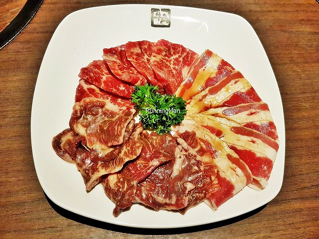 Raw Assorted Meat Platter - Beef Karubi, Beef Harami Shio, Beef Fire Karubi