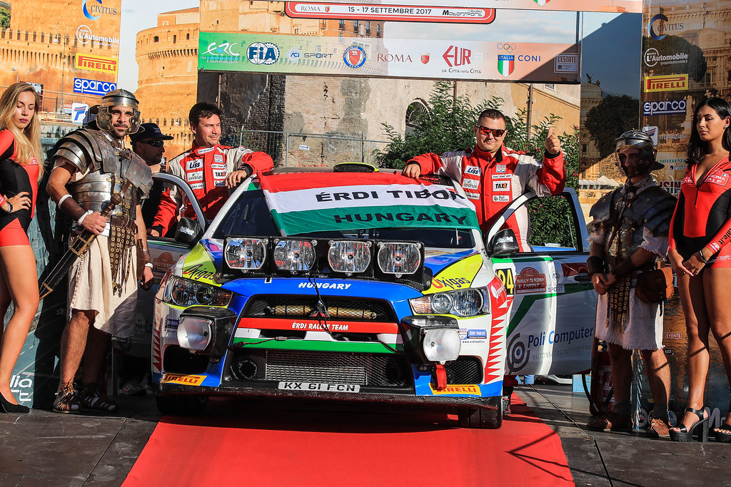 24 ERDI Tibor Jr. (HUN) PAPP Gyorgy (HUN) Mitsubishi Lancer Evo X start during the 2017 European Rally Championship ERC Rally di Roma Capitale,  from september 15 to 17 , at Fiuggi, Italia - Photo Jorge Cunha / DPPI