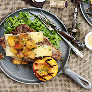 grilled pork chops peaches