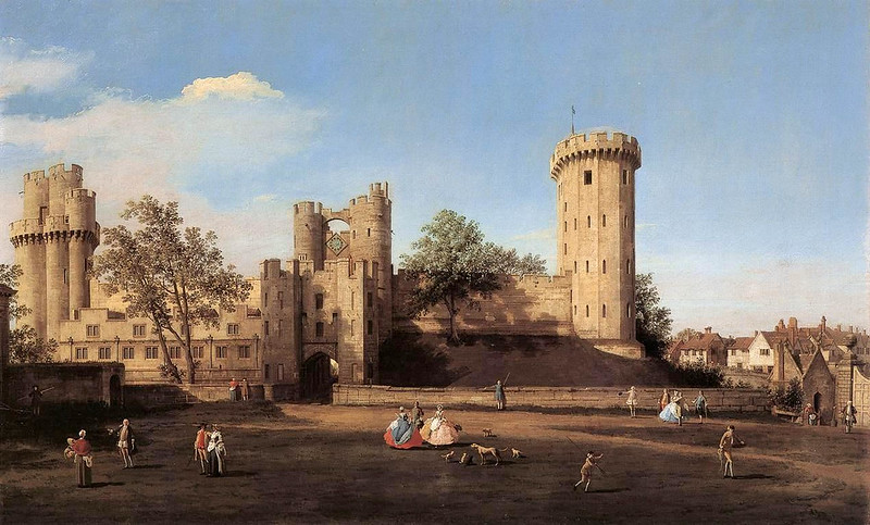 The east front of Warwick Castle from the outer court, painted by Canaletto in 1752