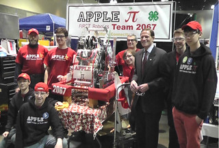 Members of the 4-H Apple Pi Robotics Club with Senator Richard Blumenthal.