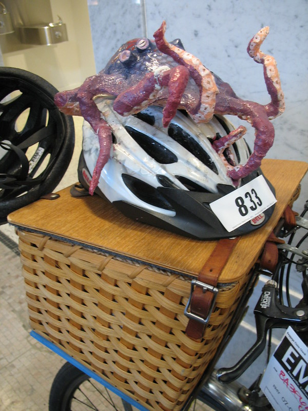 Octopus atop basket