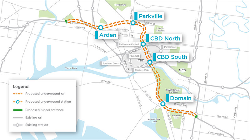 Melbourne metro rail tunnel alignment map