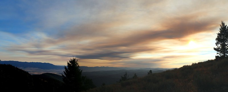 Smoky clouds drifting down from Canada lent some color to our sunset on Dixie Butte