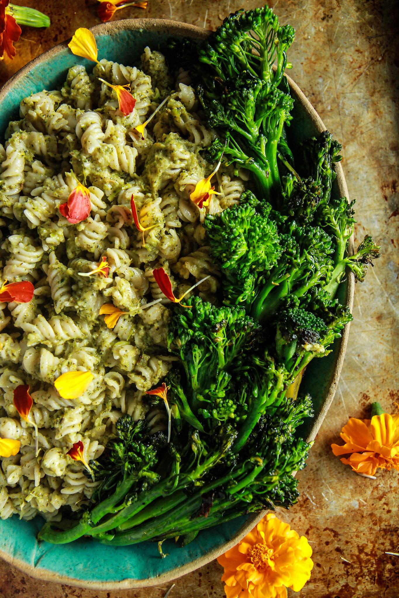 Roasted Broccoli Pesto Pasta - Gluten-free and Vegan from HeatherChristo.com