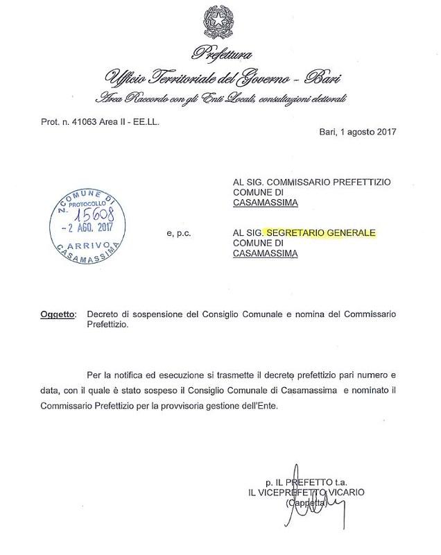 Decreto nomina Commissario Casamassima 1