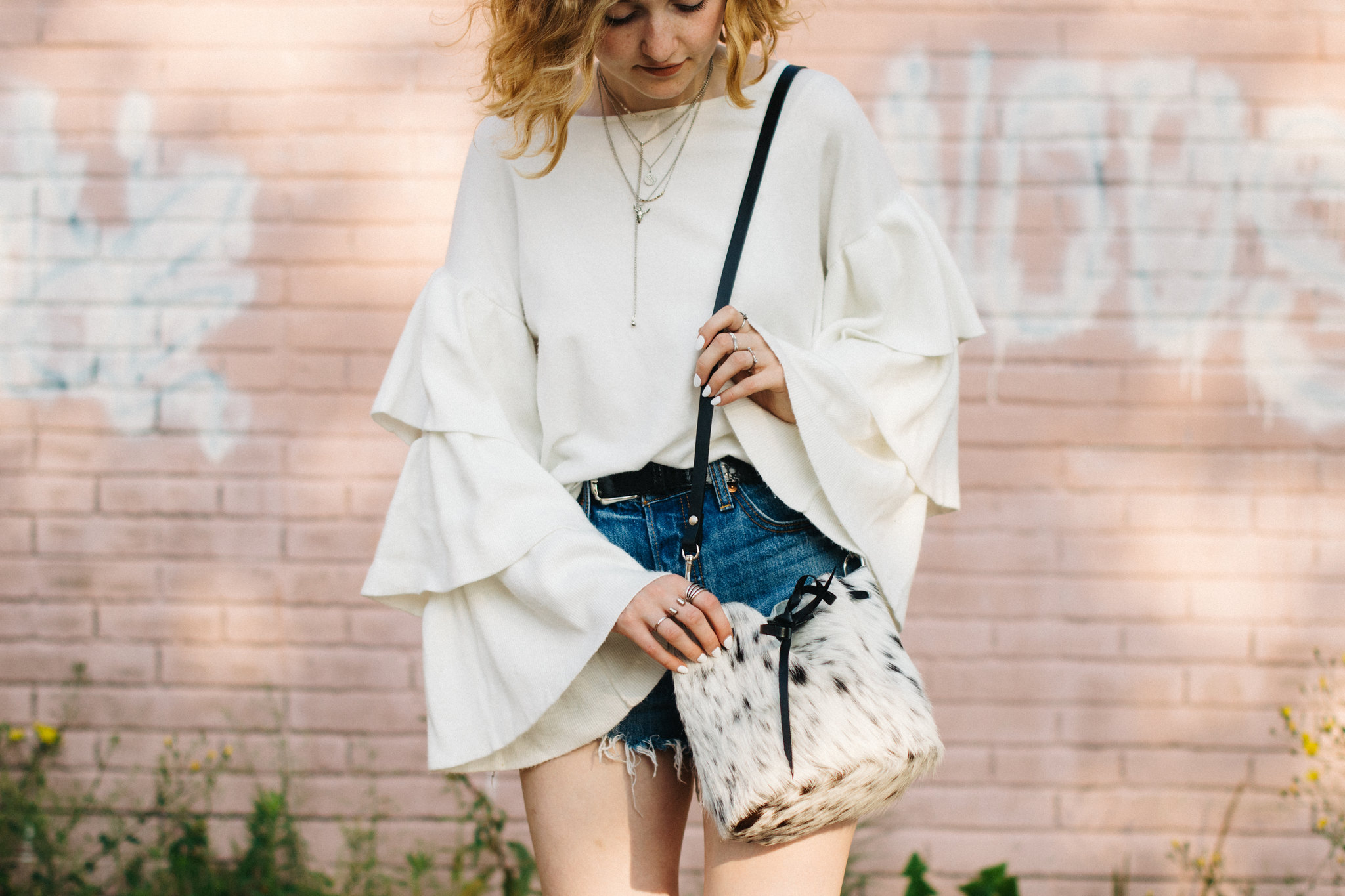 Major Bell Sleeves and a Cowhide Bucket Bag shot by Lauren O'Neil on juliettelaura.blogspot.com