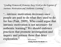Educational Postcard: Grading Homework Promotes Busy Work at the Expense of Intrinsic Motivation and Authentic Learning""