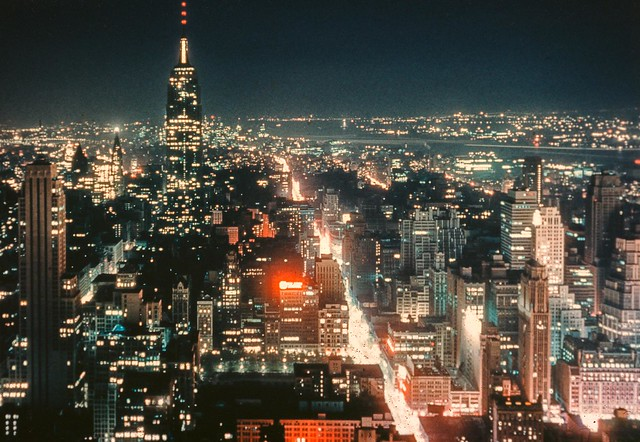 The REAL DEAL. The New York skyline at night as preserved on one of my dad's Kodachrome slides. The Empire State Building, Midtown lights, the Hudson River, New Jersey and all else which existed at that moment in time in 1954. New York.