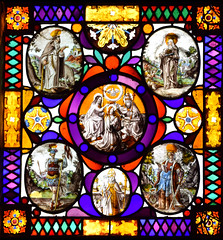Coronation of the Queen of Heaven, with (clockwise from top left) St Anthony of Egypt, St Elizabeth of Hungary, St Catherine, St Nicholas, St Louis of France