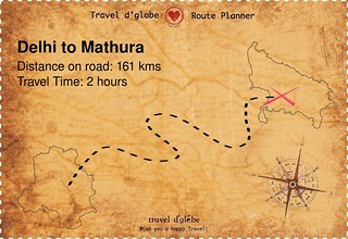 Map from Delhi to Mathura